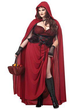 Women's Dark Red Riding Hood Curvy Costu