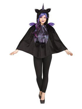 Womens Dark Unicorn Poncho Costume