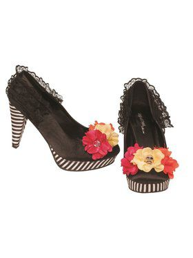 Women's Day Of Dead Striped Heel Pump