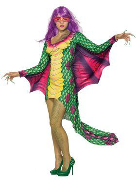 Womens Dazzling Dragon Dress W/Mask Costume