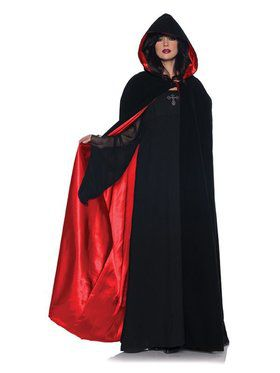 Womens Deluxe Velvet & Satin Cape
