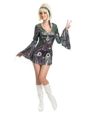Psychedelic Swirl Disco Diva Adult Costume