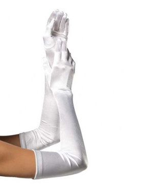 Womens Extra Long Satin Gloves - White