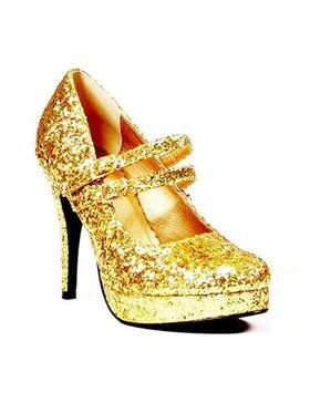 Womens Gold Glitter Mary Jane Shoe 4