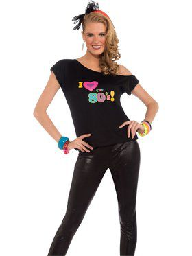 I Love The 80s Shirt Adult Costume for Women