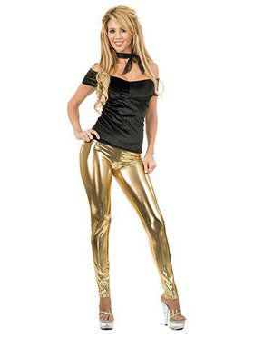 Women's Liquid Metal Leggings - Gold
