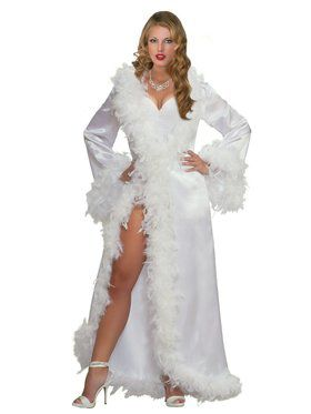 Womens Marabou Satain Robe