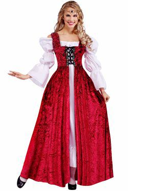 Womens Medieval Lady Lace Up Gown Adult