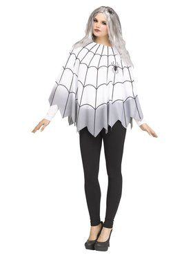 Womens Ombre Spider Web Poncho Costume