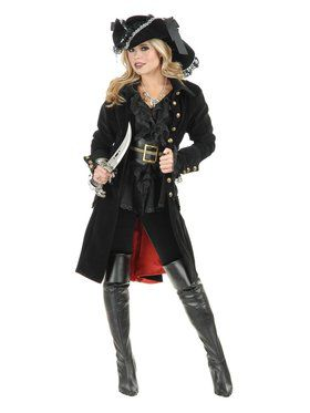 Pirate Vixen Womens Black Coat Costume