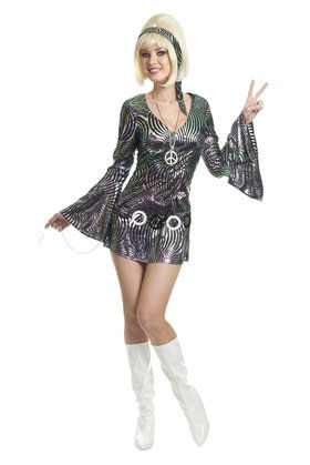 Ladies Hippie Chic Hippy 1960s 60s dressing up costume adult flower power party