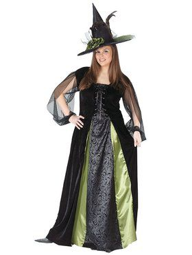 Womens Plus Goth Maiden Witch Costume