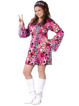 Womens Plus Size Feelin Groovy Costume