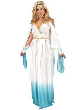Womens Plus White & Blue Greek Goddess