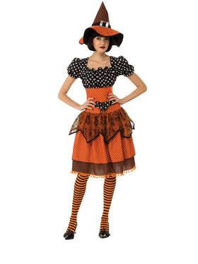 Womens Polka Dot Witch Costume