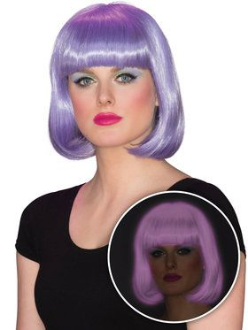 Womens Purple Glow Bob Wig