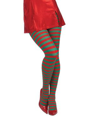 Christmas Striped Red/Green Tights