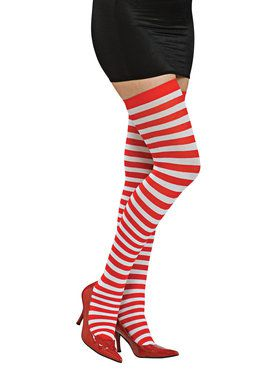 Womens Red and White Striped Thigh Highs