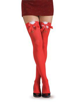 Women's Red Thigh Highs with Marabou