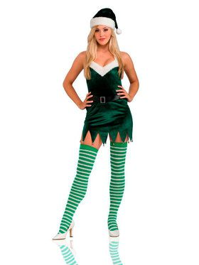 Women's Sassy Elf Dress And Thigh Highs