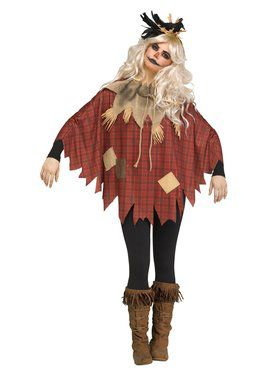 Womens Scary Crow Scarecrow Poncho Costume