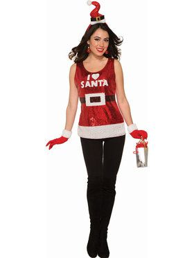 Women's Sequin I love Santa Shirt