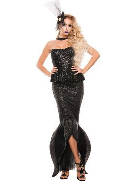 Sexy Womens Black Mermaid Costume