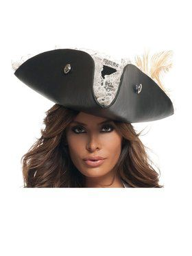 Womens Sexy Black Pearl Pirate Hat