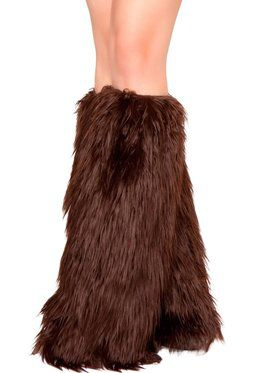 Womens Sexy Brown Furry Leg Warmers