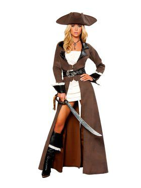 Deluxe Sexy Pirate Captain Womens Costume