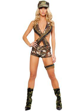 Womens Sexy Military Babe Costume