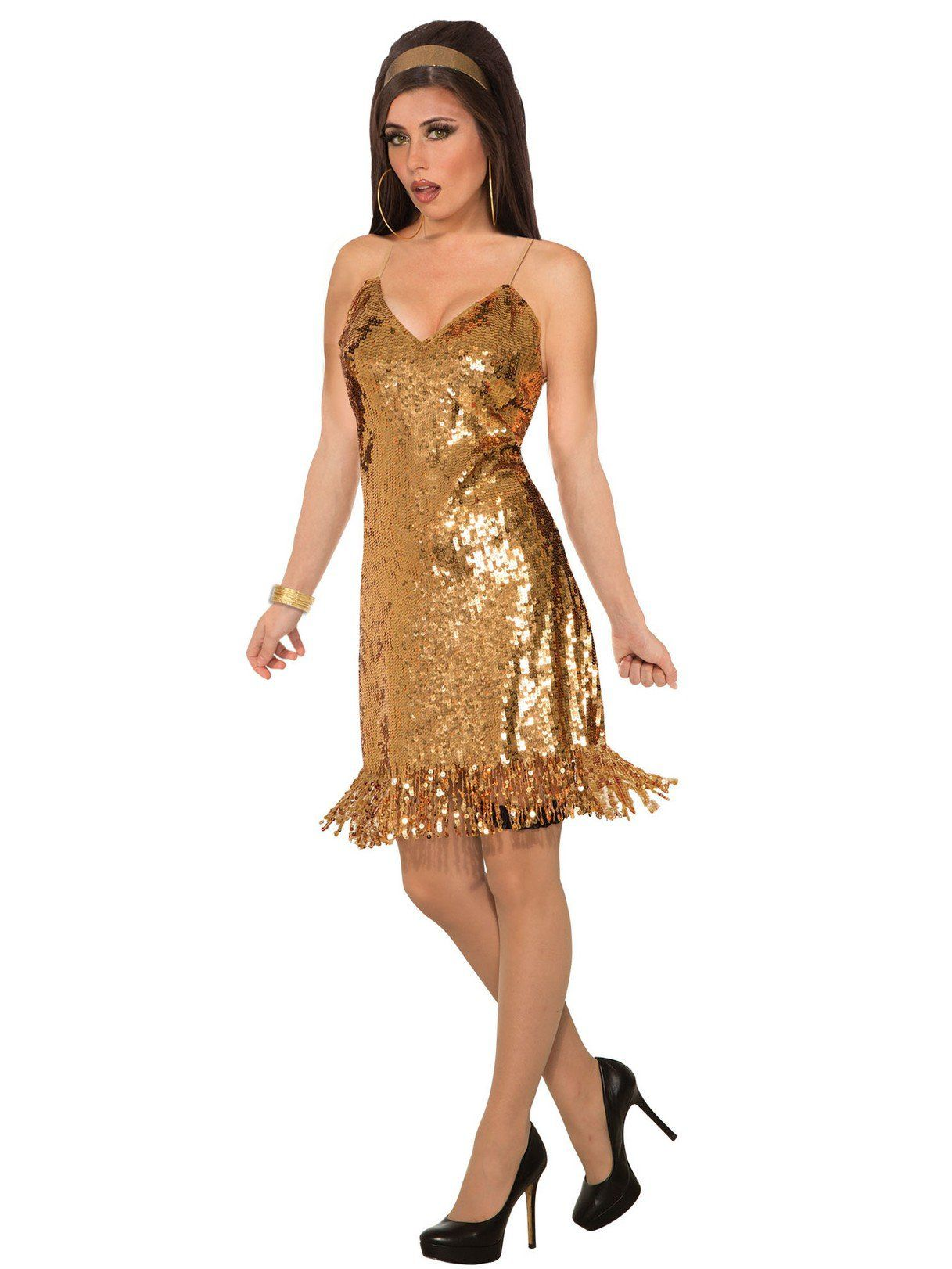 Womens Gold Sexy Sequin Disco Costume Adult 2018