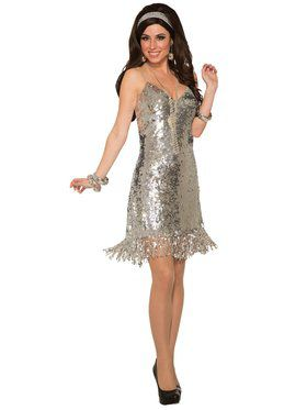 Womens Silver Sexy Sequin Disco Costume