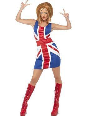 Womens Sexy Union Jack Dress Costume