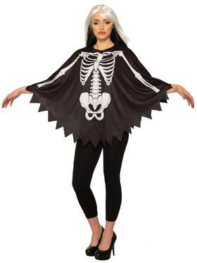 Womens Skeleton Bones Black Poncho