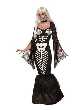Womens Skeleton Mermaid Costume
