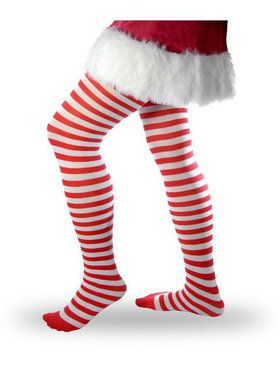 Adult Tights: Red And White Striped