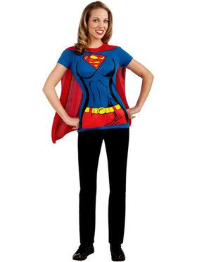 Womens Supergirl T-shirt W/ Cape Adult