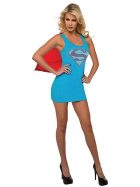 Supergirl Tank Dress with Rhinestones and Cape Costume for Women