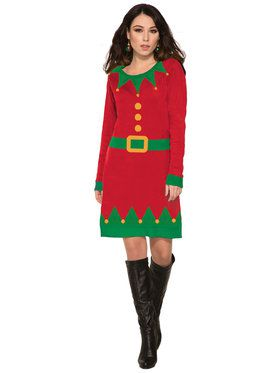 Womens Ugly Elf Christmas Sweater Dress