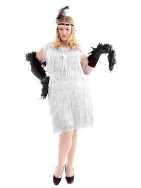 Women's White Flapper Plus