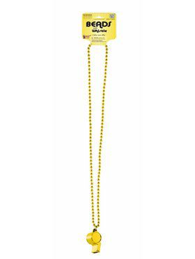 Yellow Whistle w/Beaded Necklace