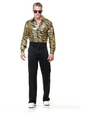 Zebra Print Disco Shirt - Gold